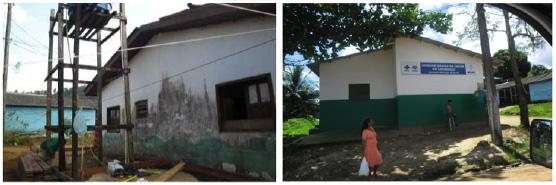 Posto Municipal de Calçoene antes e depois da reforma